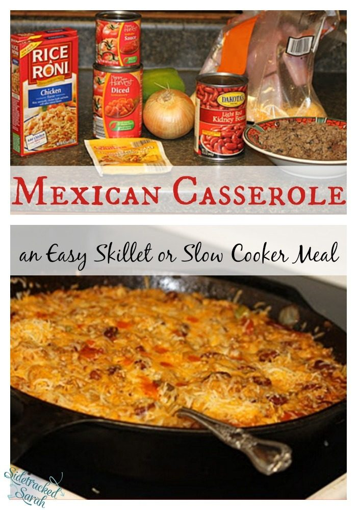 This Mexican Casserole is so quick and easy! My kids never complain when I fix it either! It works for the slow cooker or the skillet!