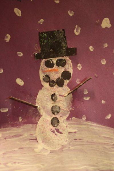 Potato Stamped Snowman