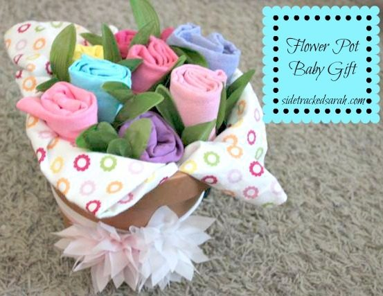 Diy baby gift flower pot of baby stuff sidetracked sarah flower pot baby gift negle Choice Image