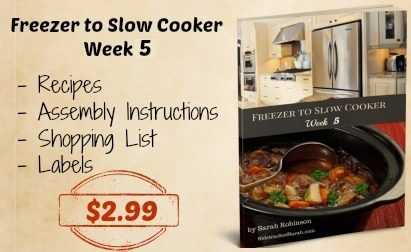 Freezer to Slow Cooker, Week 5 Printable Menu on SidetrackedSarah.com