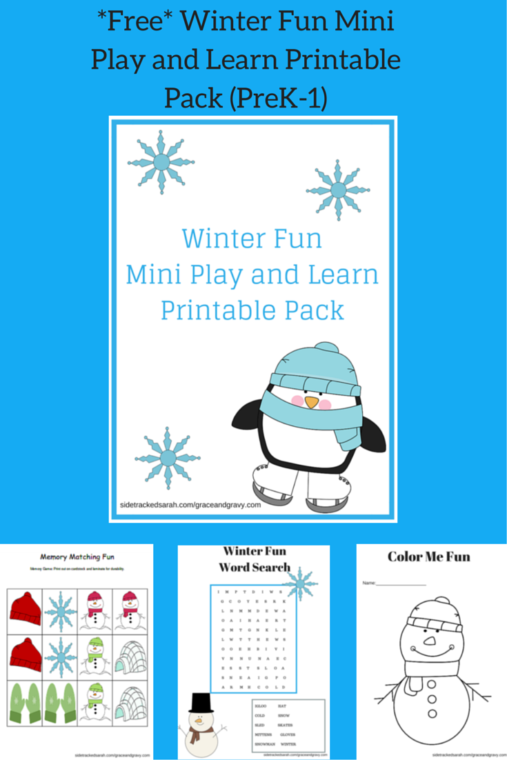 Free Winter Fun Mini Play And Learn Printable Pack Sidetracked Sarah
