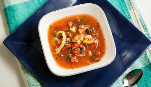 zesty kielbasa soup in the slow cooker