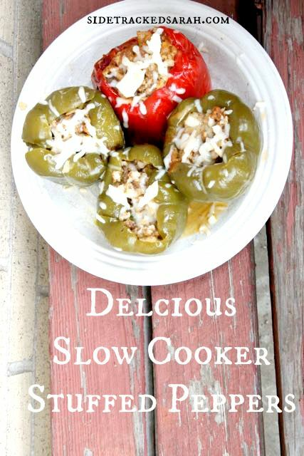 Slow Cooker Stuffed Peppers Recipe - Pin This