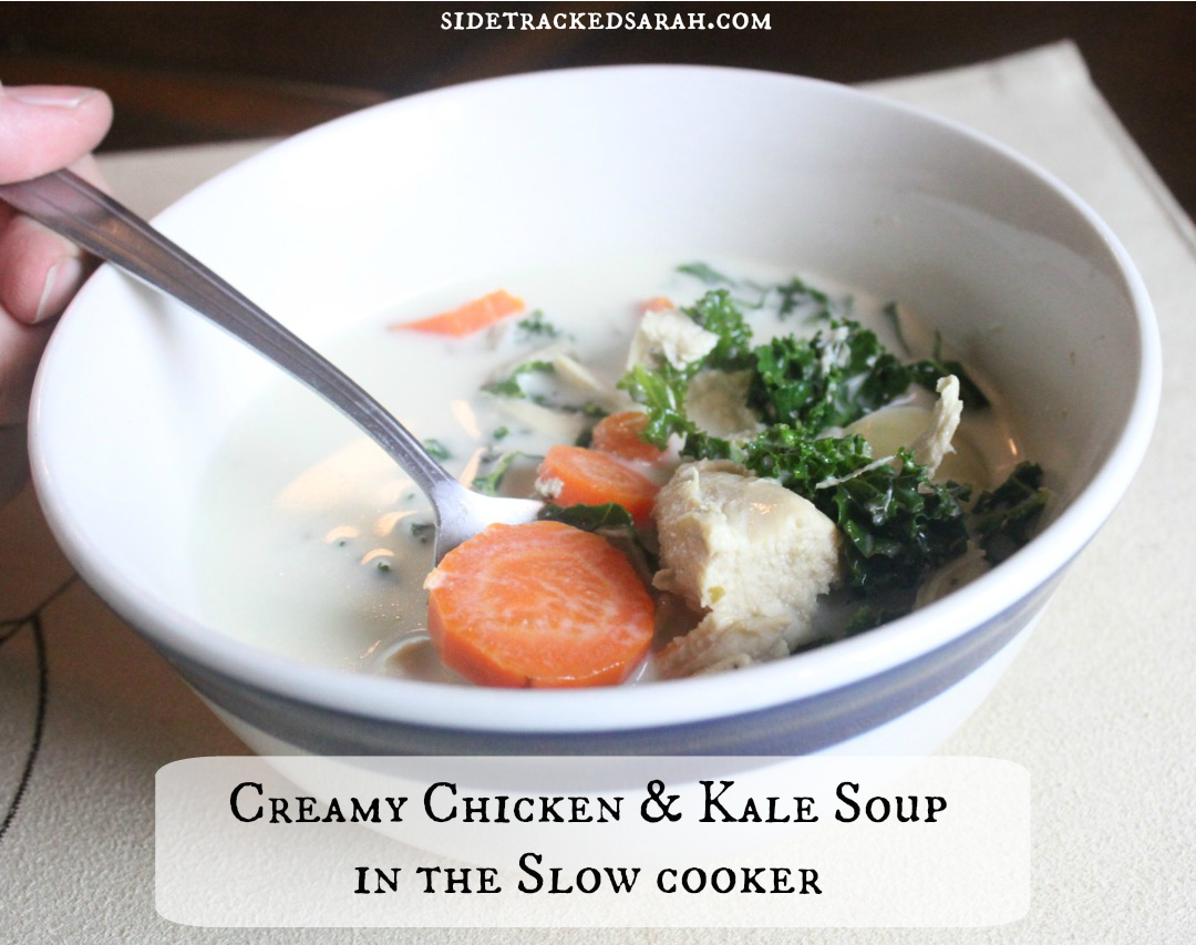 Creamy chicken kale soup recipe for the slow cooker for How long to boil a whole chicken for soup