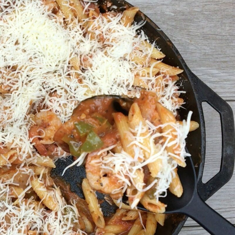 Skillet Shrimp and Pasta Primavera Recipe – 20 Minute Meal!