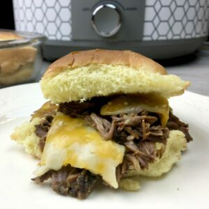 Slow Cooker Garlic Ale Beef Sliders
