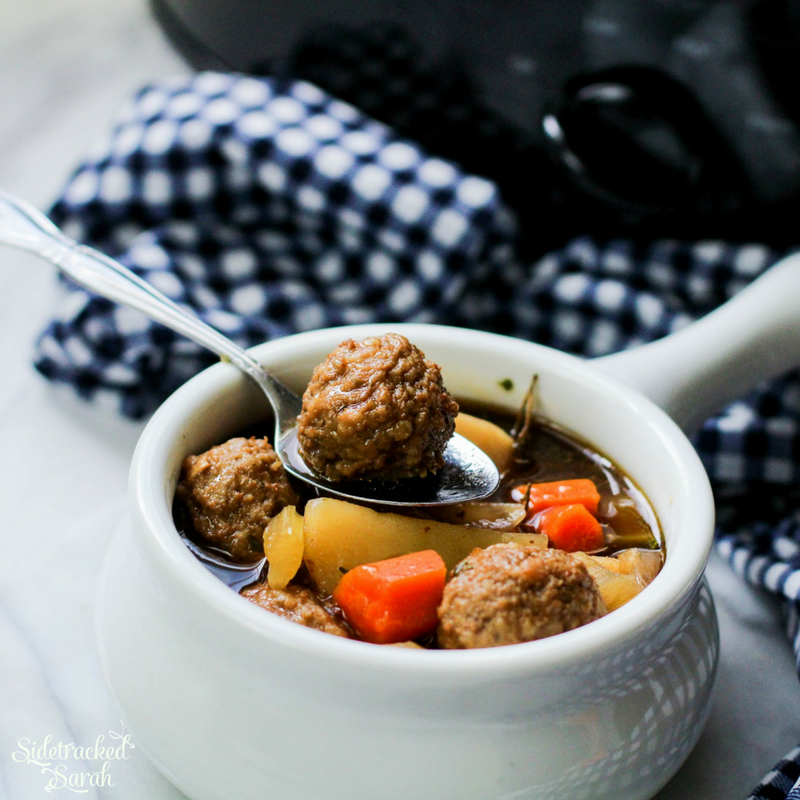 Slow Cooker Potatoes & Meatball Soup