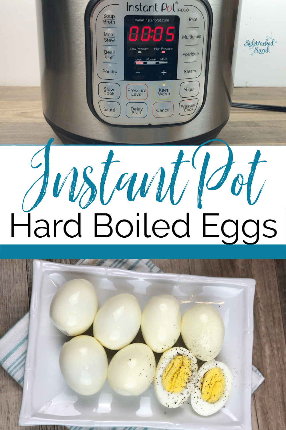 Instant Pot Hard Boiled Eggs on Plate