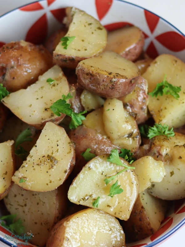 Ranch Potatoes in Bowl with Parsley on top
