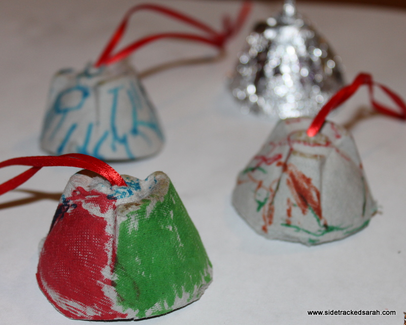 Egg carton bells 25 days series sidetracked sarah for Christmas decorations using egg cartons